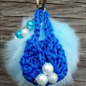 Super Soft PomPom With Miniature Purse & Pearls